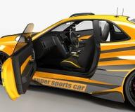Автомобиль спорт coupe седана в исключительном представлении гонок и с набором аэродинамического тела Запланировано для Стоковые Фотографии RF