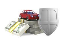 Автомобиль страхования на белой предпосылке Изолированная иллюстрация 3d Стоковые Изображения RF