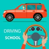 Автомобиль с взглядом со стороны женщины водителя Управляя школа Руки женщины водителя на руле автомобиля бесплатная иллюстрация