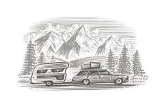 Автомобиль с иллюстрацией monochrome трейлера туриста Наслоенный вектор, изолированный, стоковое фото