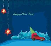 Автомобиль с подарочной коробкой рождества и рождественской елкой иллюстрация штока