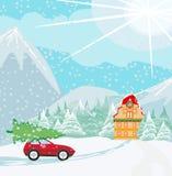 Автомобиль с рождественской елкой на крыше иллюстрация вектора