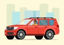 Автомобиль с человеком водителя афро американским бесплатная иллюстрация