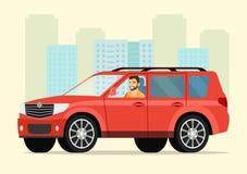 Автомобиль с человеком водителя стоковое изображение rf