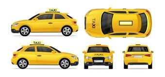 Автомобиль такси желтый со стороной, фронтом, задней частью и верхней частью Значок такси перехода города установил для черни, се иллюстрация вектора