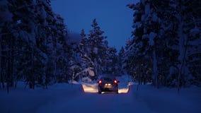 Автомобиль управляет через лес зимы ночи акции видеоматериалы