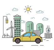 Автомобиль Coupe на эко-тематической предпосылке ландшафта дружественный к Эко корабль в энергосберегающей окружающей среде Плоск Стоковая Фотография