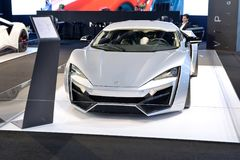Автомобиль hypersport WMotors Lykan на мотор-шоу 2017 Дубай Стоковое фото RF
