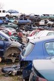 Автомобили в Junkyard Стоковое Фото
