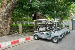 Автомобили гольфа в парке стоковое фото rf