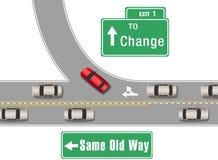Автомобили изменяют старую для нового пути Стоковые Фотографии RF