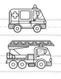 Автомобили и книжка-раскраска кораблей для ваших детей Машина скорой помощи, огонь t иллюстрация штока