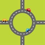 Автомобили маркировки и шаржа дороги белые Перекресток круга круглый Комплект элемента дизайна Плоский дизайн Стоковая Фотография