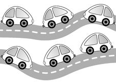 Автомобили на странице расцветки дороги иллюстрация штока