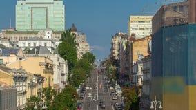 Автомобили ревут вниз с улицы Khreshchatyk и Khmelnitsky акции видеоматериалы