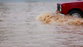 Автомобили управляют через лужицу дождя, брызгая воду акции видеоматериалы