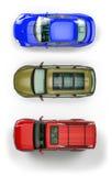 автомобили установили взгляд сверху Стоковое Изображение