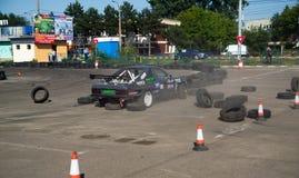 Автомобильная катастрофа в состязании смещения Стоковые Изображения RF