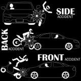 Автомобильная катастрофа, мотоцикл Стоковая Фотография RF