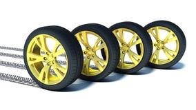 Автомобильное колесо с дисками золота Стоковое фото RF