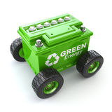 автомобильный аккумулятор на колесе Зеленая концепция энергии Стоковая Фотография