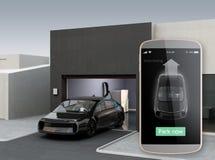 Автомобиль автостоянки автоматической паркуя концепцией app иллюстрация штока