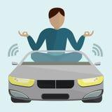 Автомобиль двигая без водителя бесплатная иллюстрация