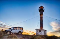 Автомобиль вне маяка Патагонии в полуострове valdes Стоковые Фото