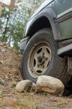 Автомобиль вставленный в лесе Стоковые Изображения