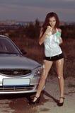 Автомобиль девушки моя Стоковое Фото