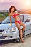 Автомобиль девушки моя Стоковая Фотография