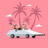 Автомобиль езды группы людей открытый на праздник перемещения с пальмой позади бесплатная иллюстрация