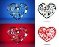 Автомобиль запасных частей сердца на предпосылке Стоковые Фотографии RF