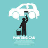 Автомобиль картины человека на символе стены Стоковое фото RF