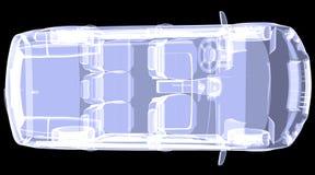 Автомобиль концепции рентгеновского снимка. Взгляд сверху Стоковые Изображения