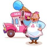 Автомобиль мороженого шаржа с продавцем иллюстрация вектора