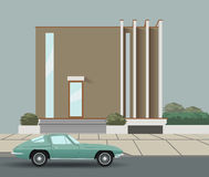 Автомобиль на дороге и доме также вектор иллюстрации притяжки corel Стоковое Изображение