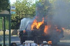 Автомобиль на пожаре Стоковое Изображение RF