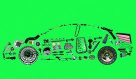 Автомобиль от серии запасных частей изолированных на зеленой предпосылке Стоковая Фотография