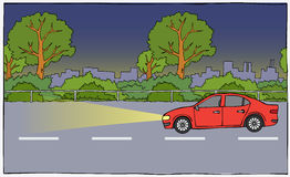 Автомобиль от стороны в ноче Стоковое фото RF