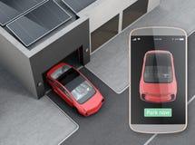 Автомобиль парка автоматической паркуя концепцией app бесплатная иллюстрация