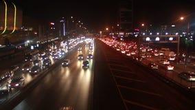 Автомобиль перехода света ночи, город Стамбула, декабрь 2016, Турция сток-видео