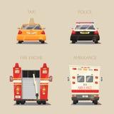 Автомобиль полиции, такси, машины скорой помощи и пожарная машина иллюстрация мальчика неудовлетворенная шаржем меньший вектор Стоковое фото RF