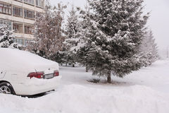 Автомобиль под снегом Стоковое фото RF