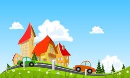 Автомобиль проходя мимо в абстрактный город Стоковое Изображение