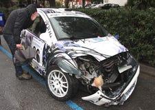 Автомобиль ралли после аварии Стоковая Фотография