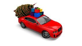 Автомобиль рождества Санта Клауса с рождественской елкой иллюстрация вектора