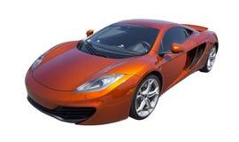 Автомобиль спорт в изолированном апельсине, Стоковые Фотографии RF
