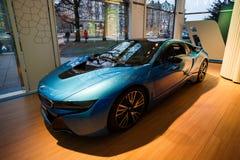 Автомобиль спорт BMW i8 гибридный Стоковые Фотографии RF