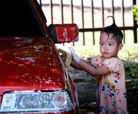Автомобиль счастливой девушки моя Стоковое фото RF